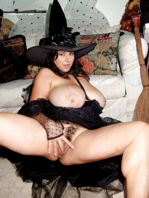 French MILF Chloe Vevrier freeing knockers and bush from witches uniform