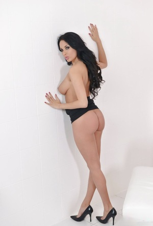 Beautiful brunette female Anissa Kate casting panties to vibrate pussy