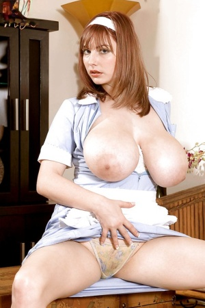 Busty maid Christy Marks takes off her panties to please her horny boss
