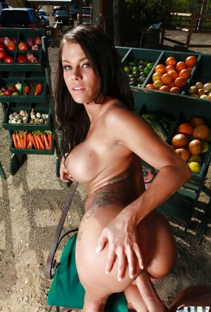 Busty chick Peta Jensen giving BJ before riding cock at farmer's veggie stand