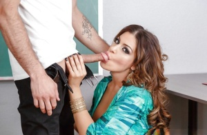 Cougar MILF Nikki Capone ready to kneel and suck student's cock in class