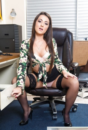Office worker Lily Adams showing off naked pussy after disrobing on desk 47541239