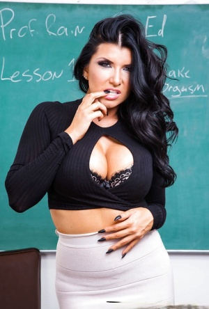 FEmale teacher in black lingerie Romi Rain classroom nudity scenes
