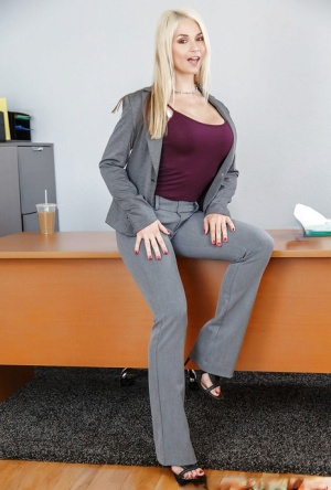 Blonde with amazing boobs Sarah Vandella premium nudity at the office