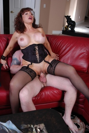 Mature mom Vanessa riding dick on couch with oral sex finale