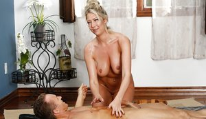 Blonde female Lexi Lowe removing bikini before giving and receiving massage