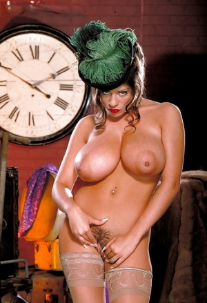 Euro model Linsey Dawn McKenzie letting knockers loose from retro clothing