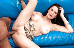Dark haired granny Rita Daniels giving BBC oral sex before getting fucked