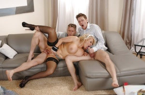 Curvy blonde maid Tiffany Kingston fucks 2 dudes on chesterfield at same time