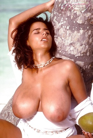 Chloe Vevrier staggering views of her furry pussy and huge tits