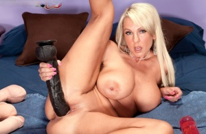 Big boobed housewife Alysha satisfies her pussy with huge dildos