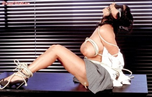 Busty woman Linsey Dawn McKenzie appears naked and tied up in office bondage