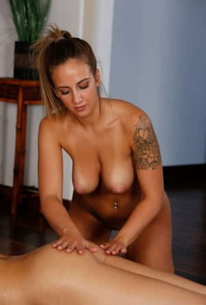 All girl massage with Layla London  Blair Williams leads to lesbian tribbing