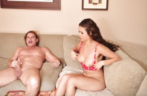 Brunette Latina Blair Summers giving large cock oral sex on chesterfield