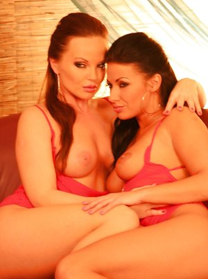 Lesbian pornstars Tea and Silvia Saint free tits and twats from red lingerie