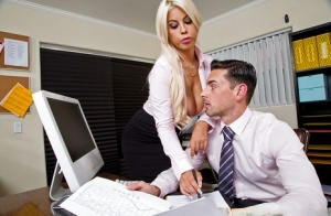 Bridgette B intense scenes of heavy cock sucking while at the office