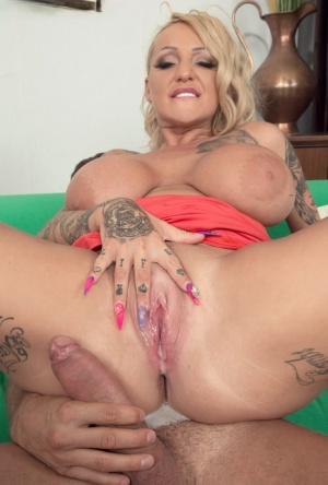Cougar MILF with huge tits Bambi Blacks hard sex and creampie