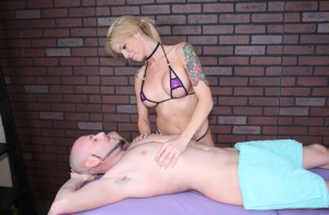 Tattooed blonde masseuse Bella suddenly decides upon a little CBT
