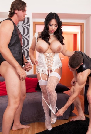 Big boobed Asian Tigerr Benson gets double fucked by two eager dicks