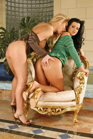 Hot lesbians Gina B and Judy Nero take toys and tongues to wet pussies
