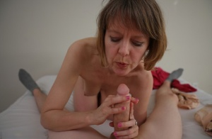Older woman Jamie Foster strokes a cock from a POV perspective 51006752