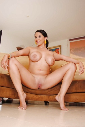 Teen babe Missy Martinez shows her shaved Latina pussy spreading it