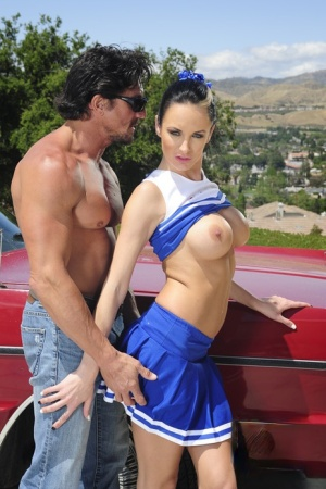 Cheerleader with huge tits Alektra Blue takes a cock deep in her shaft