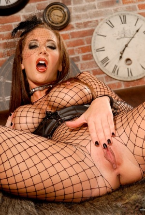 Lovely babe in pantyhose Jayden Jaymes rubbing her wet clit