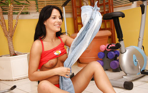 Lusty teen babe Annabella taking off her jeans and playing with a dildo