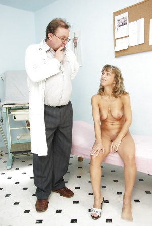 Pretty mature at the Gyno with shit shoved into her dripping cunt hole
