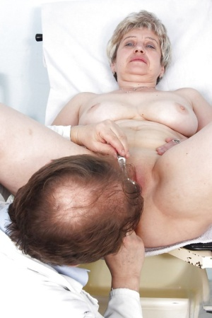 Fatty gets her mature shaved cunt spread for a violating gyno visit
