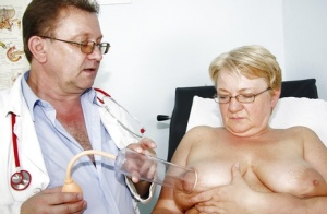Kinky OBGYN fantasies with fat Granny getting her hairy pussy spread