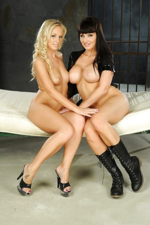 Sexy lesbians Aletta Ocean amp Barbie White playing with a huge black dildo