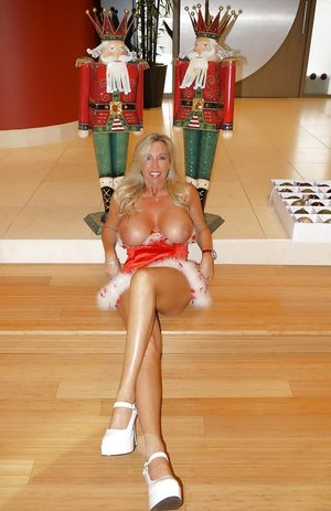 Blonde mature babe in christmas outfit Wifey showing her huge tits