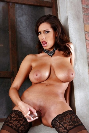 Gorgeous MILF with huge jugs Sensual Jane stripping and toying her muff