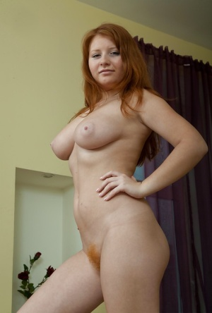 Lusty babe with big tits Scarlett stripping and fingering her hairy muff