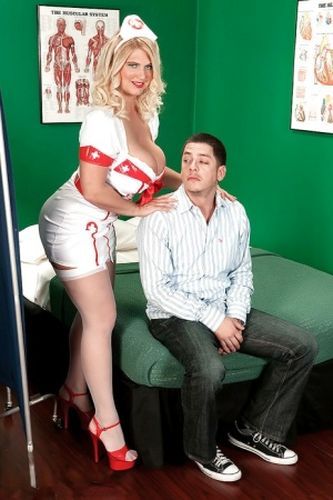 Kelly Christiansen dresses as a nurse and fucks with a young patient in her slutty