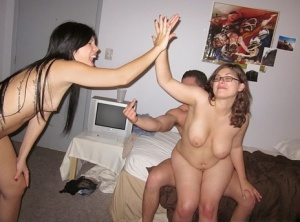 Stunning coeds with petite tits are into foursome groupsex in the dorm room