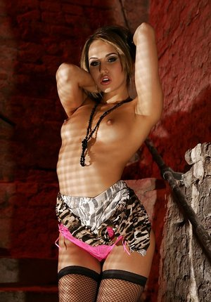Graceful babe in stockings Aleska Diamond stripping off her clothes