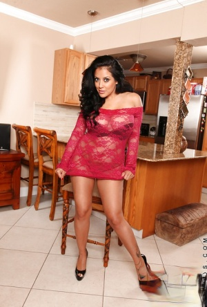 Latina MILF Kiara Mia exposing her gorgeous curves and toying her cunt