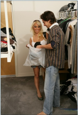 Lubricious blond mom Holly Halston getting laid in the wardrobe