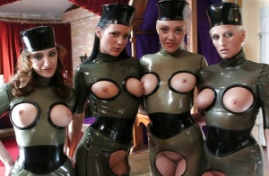 Petite fetish gals with sexy fannies posing in latex outfit