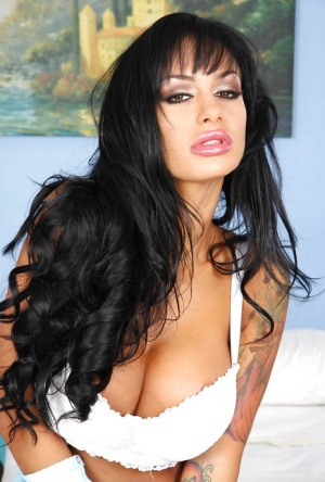 Voluptuous latina MILF Angelina Valentine stripping and spreading her legs