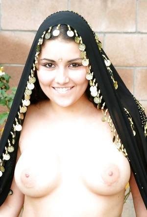 Filthy indian babe with big tits stripping off her lingerie