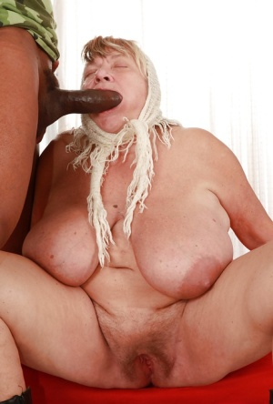 Fatty granny with giant jugs gets her cunt drilled hardcore and creampied