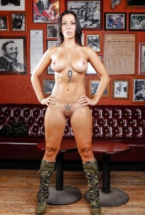 Voluptuous babe with big jugs Rachel Starr slipping off her army outfit