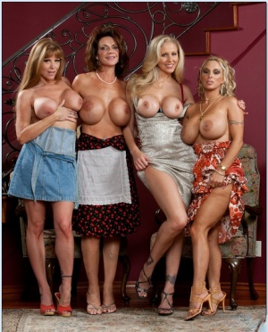 Four tempting MILF hotties in high heels showing off their sexy curves
