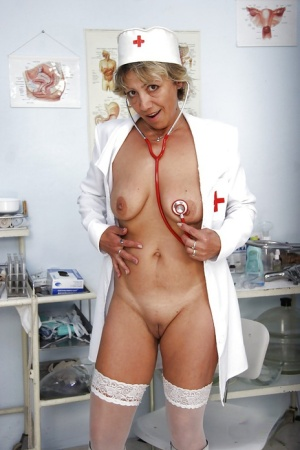Salacious gyno nurse with shaved cunt has no lingerie under her uniform