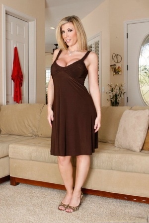 Big busted blonde MILF Sara Jay gets rid of her dress and lingerie 41221422
