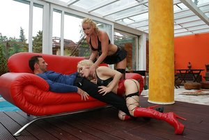 Lusty chick in stockings Cathy Cambel has some dirty fun with her friends